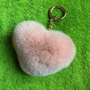 Heart shaped Pom Pom bag charm puffy rabbit fur
